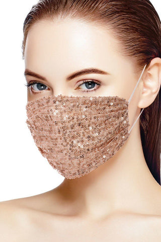 Rose Gold 3d Sequin Fashion Facemask
