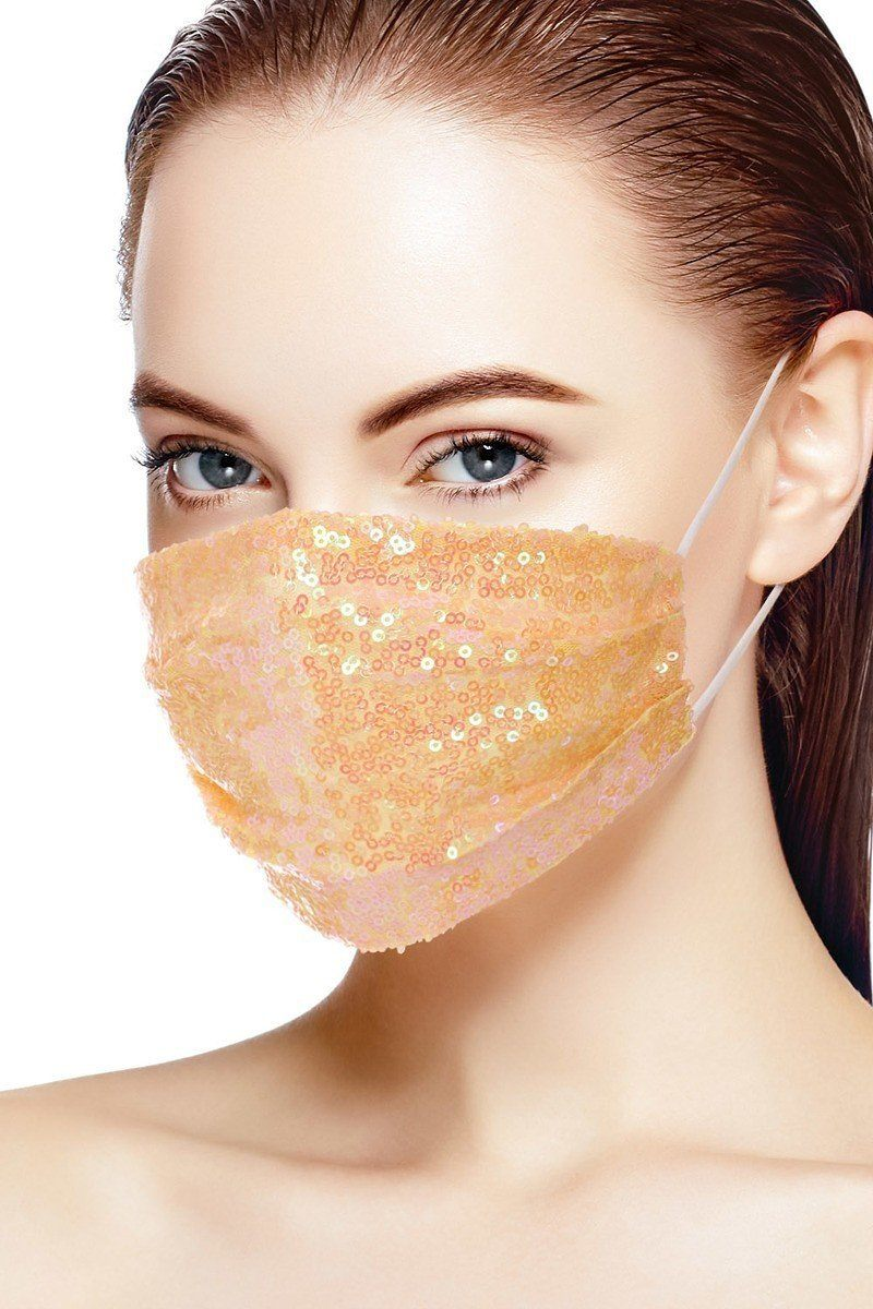 Peach 3d Sequin Peach Fashion Facemask