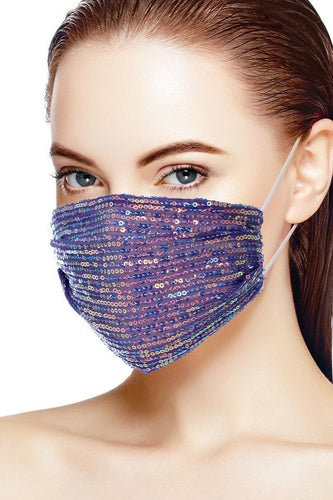 3d Sequin Purple Fashion Facemask