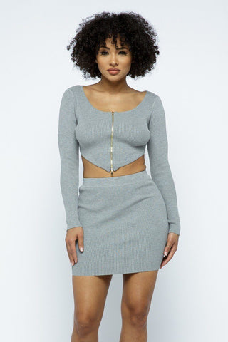 Grey 2 Way Zipper Mini Skirt Set