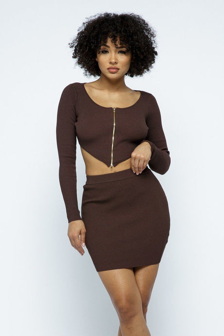 Brown 2 Way Zipper Mini Skirt Set