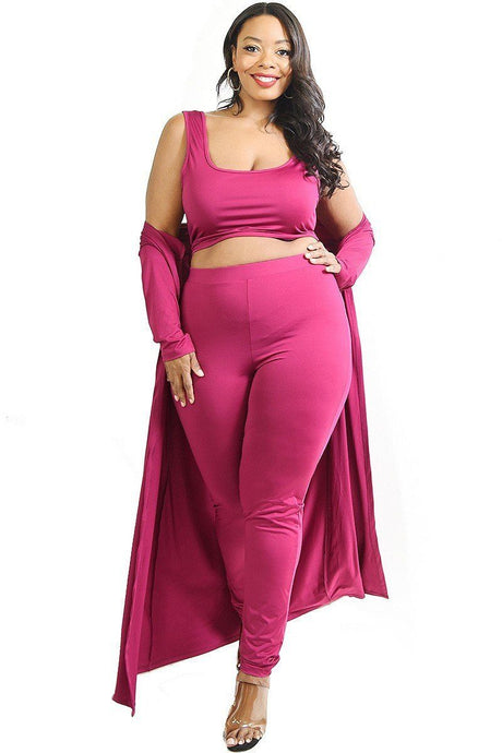 Magenta Plus Solid 3 Piece Legging Set