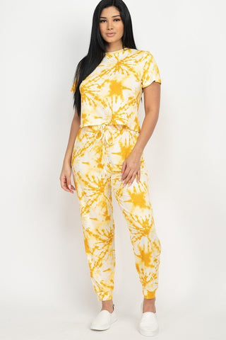 Yellow Tie-dye Printed Top And Pants Set