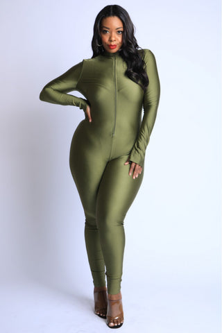 Olive Neck Zip Up Jumpsuit