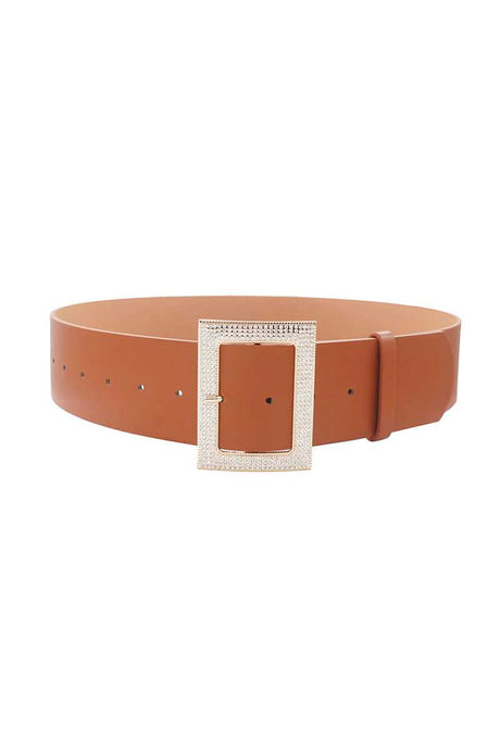 Rectangle Rhinestone Buckle Belt (3 Colors)
