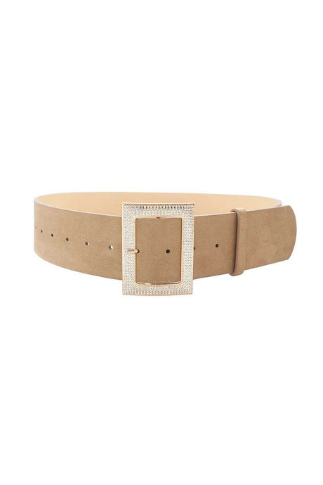 Rectangle Rhinestone Buckle Suede Belt (2 Colors)