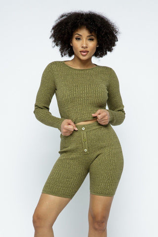 Olive Cropped Top Knit High-waist Biker Shorts Set