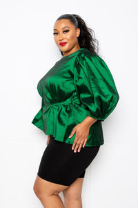 Green Voluminous Top With Waist Tie
