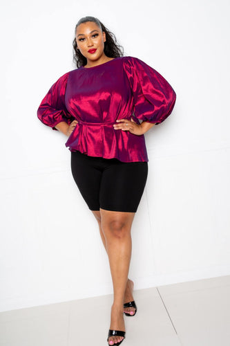 Fuchsia Voluminous Top With Waist Tie