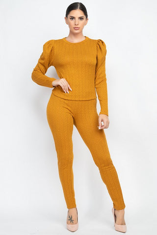Golden Mustard Puff Sleeve Set