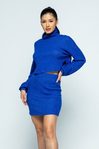Royal Blue 2 Piece Front Pocket Mini Skirt