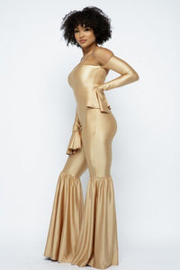 Champagne Gold Yoga Off The Shoulder Slit Bell Wide Leg Jumpsuit