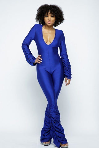 Royal Blue Ruched Stacked Jumpsuit