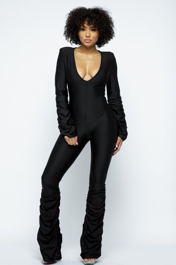 Black Ruched Stacked Jumpsuit