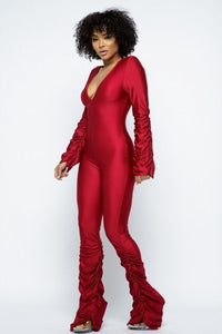 Red Ruched Stacked Jumpsuit