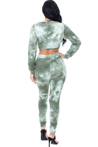 Olive Tie Dye Ribbed Sweater Set