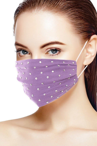 Lavender 3d Shiny Silver Metal Studs Cotton Fashion Face Mask