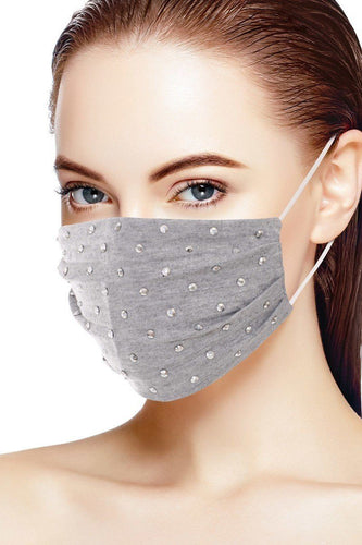 Heather Grey 3d Shiny Silver Metal Studs Cotton Fashion Face Mask