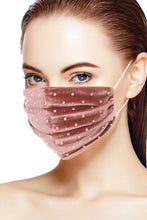 Load image into Gallery viewer, Mauve 3d Shiny Iridescent Rhinestone Velvet Fashion Face Mask
