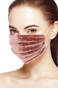 Mauve 3d Shiny Iridescent Rhinestone Velvet Fashion Face Mask