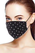 Load image into Gallery viewer, Black 3d Shiny Silver Rhinestone Fashion Mesh Face Mask