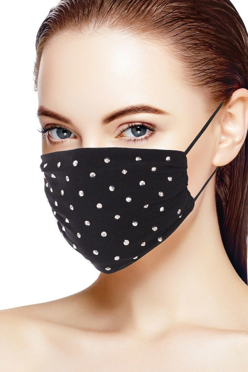 Black 3d Shiny Silver Rhinestone Fashion Mesh Face Mask
