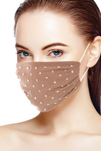Mocha 3d Shiny Silver Rhinestone Fashion Mesh Face Mask