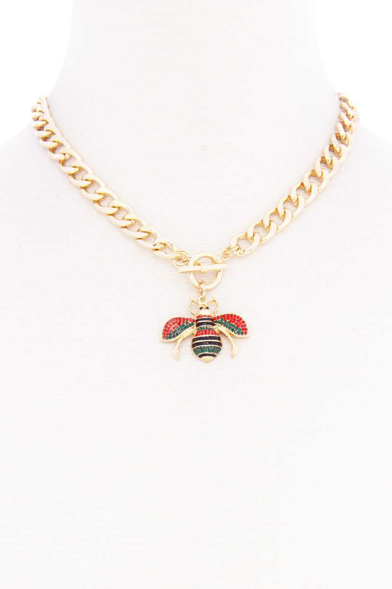 Rhinestone Bee Pendant Toggle Clasp Necklace (3 Ccolors)
