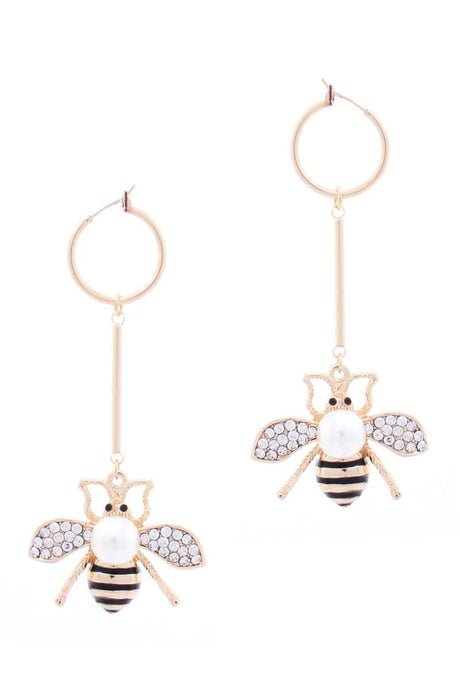 Mini Hoop Queen Bee Dangle Metal Bar Earring (2 Colors)