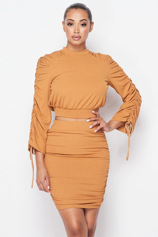 Camel Ruched Long Sleeve And Skirt Set