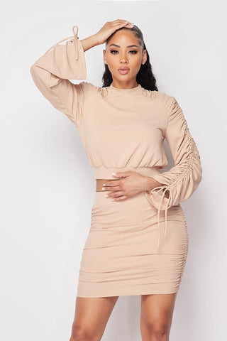 Taupe Ruched Long Sleeve And Skirt Set