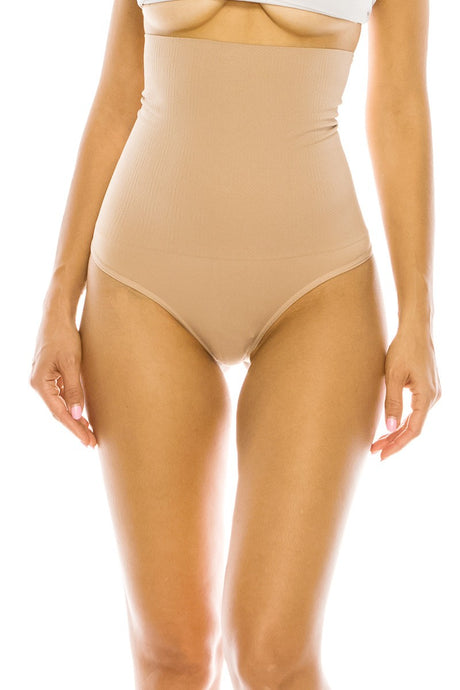 Nude Hi Waist Control Smooth Soft Fabric Thong
