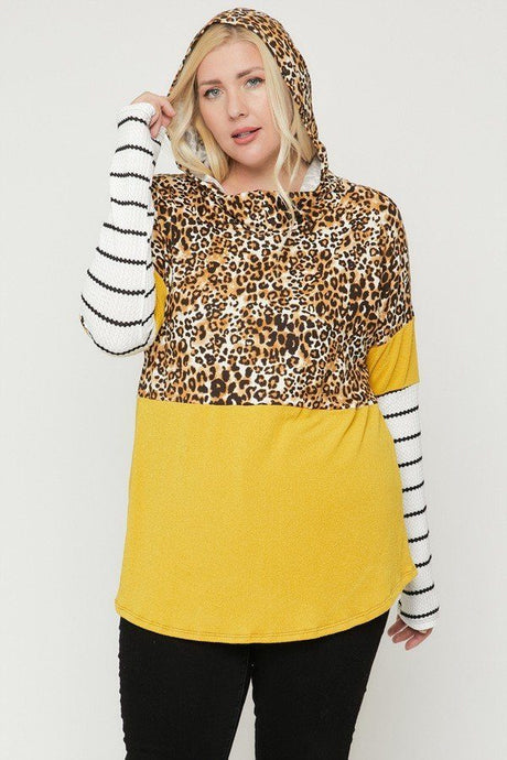 Mustard/Cheetah  Color Block Hoodie Featuring A Cheetah Print