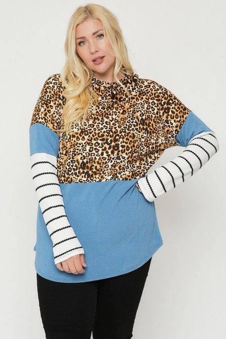 Blue/Cheetah  Color Block Hoodie Featuring A Cheetah Print