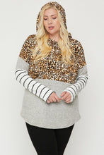 Load image into Gallery viewer, Mocha/Cheetah  Color Block Hoodie Featuring A Cheetah Print