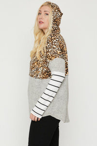 Mocha/Cheetah  Color Block Hoodie Featuring A Cheetah Print