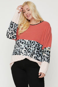 Light Rust/Leopard Color Block Top Featuring A Leopard Print Top