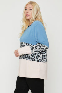 Blue/Leopard Color Block Top Featuring A Leopard Print Top
