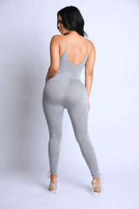 Heather Grey Lace Up Detailed Jumpsuit