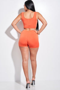 Orange Tank Top And Tie Front Shorts 2 Piece Set