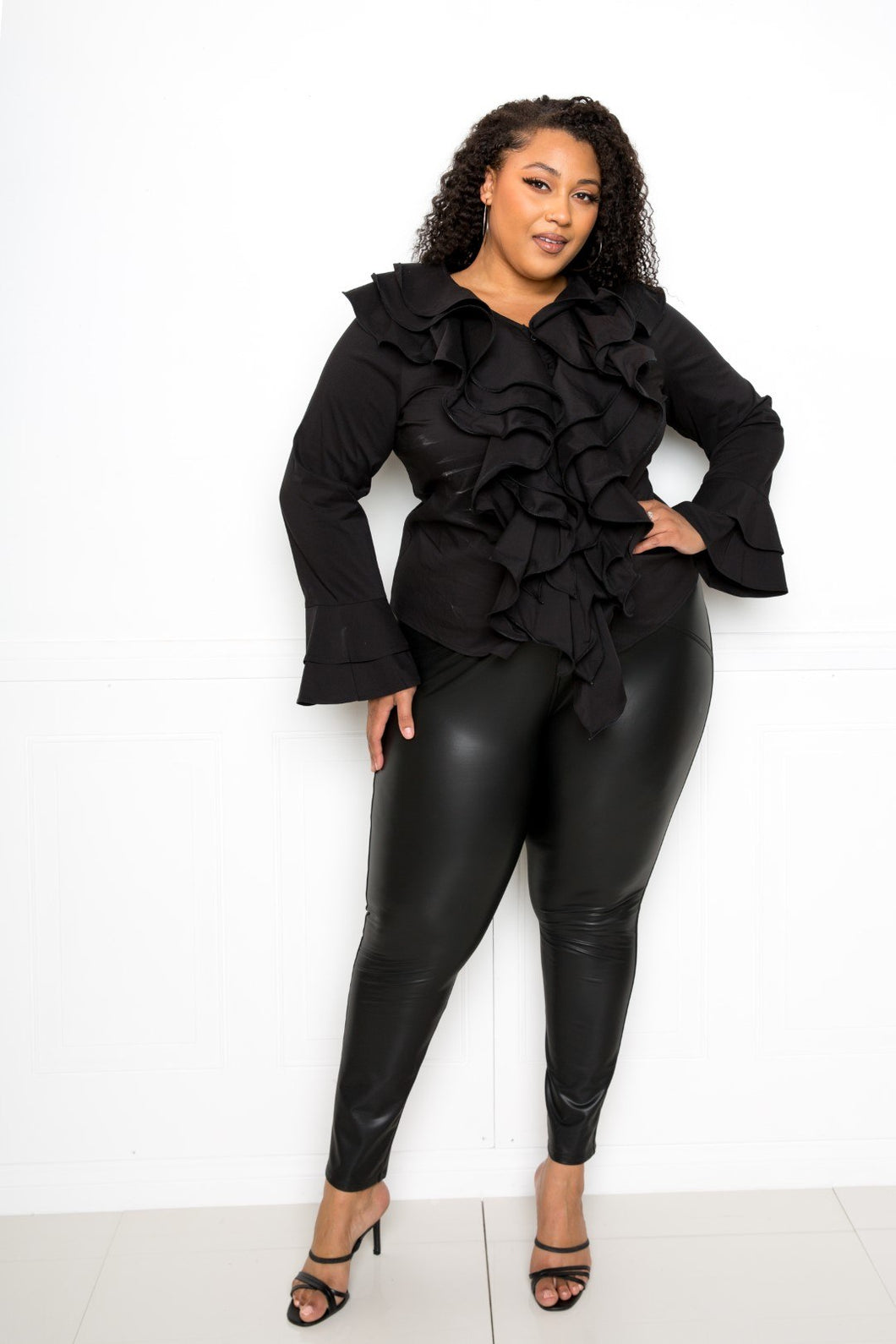 Black Voluminous Ruffle Shirt