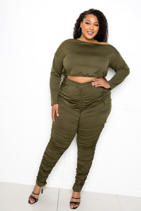 Olive Off Shoulder Cropped Top And Ruched Leggings Sets
