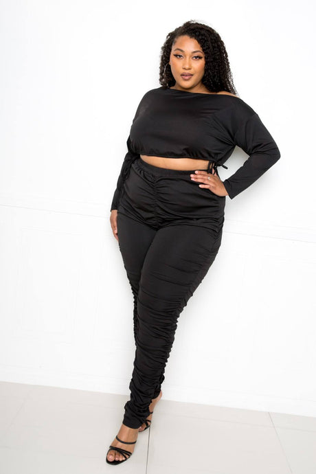 Black Off Shoulder Cropped Top And Ruched Leggings Sets