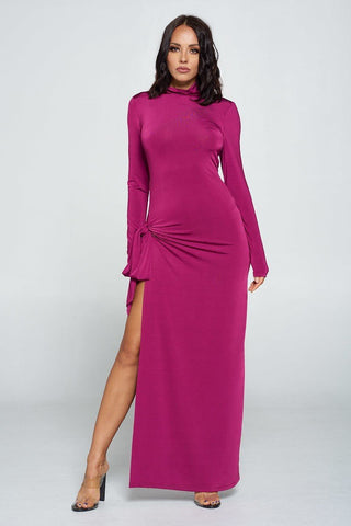 Magenta Side Tie Long Sleeve Dress