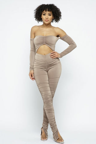 Taupe Cinch Cut Out Front Ruched Leg Jumpsuit