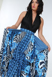 Black/Blue Animal Print  Maxi Skirt In Black Gold