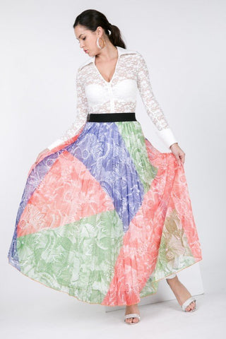 Multi Color Block Pleated Maxi Skirt
