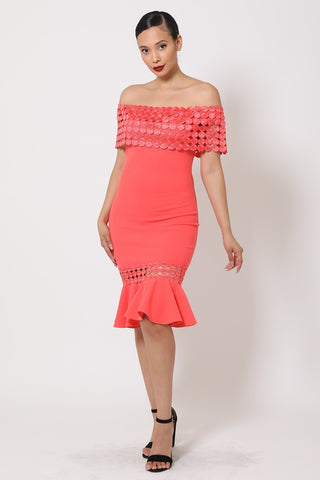 Salmon Off Shoulder Crochet Band Fashion Dress