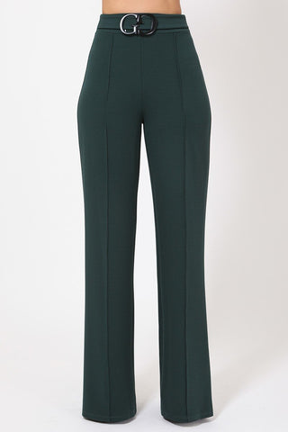 Hunter Green Double Reverse G Buckle Detail Pants
