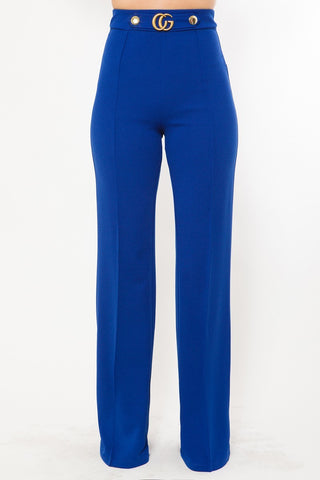 Royal Blue Cg Buckle And Button Detail Pants